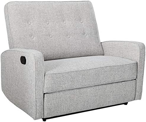 Best Christopher Knight Home Calliope Buttoned Fabric Reclining Loveseat, Light Grey Tweed / Black
