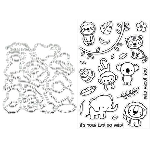 BUZHI Clear Stamp and Dies Set Animal Set Stamp with Dies for Scrapbooking 3D Card Making DIY Decoration Tools