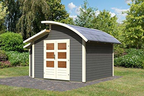 Unbekannt Karibu Gartenhaus Almelo mit Anbauschrank terragrau 28 mm