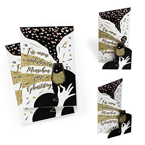 Karte Geburtstag (2 Stück) mit edlem Gold Glitzer | Geburtstagskarte modern Für einen wunderbaren Menschen | Glückwunschkarte oder Gutschein zum Aufstellen, 3D Effekt, X031