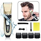 Aksice Hair Clippers for Men Cordless Rechargeable Hair Trimmer with Titanium & Ceramic Blades Adjustable Electric Haircut Machine Beard Trimmer Hair Cutting and Grooming Kit