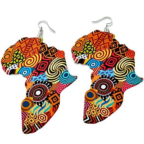 Zonfer 1 Pendientes Coloreados De Madera Par Mapa De África Pendientes De Joyería Hecha a Mano Declaraciones del Oído para La Mujer