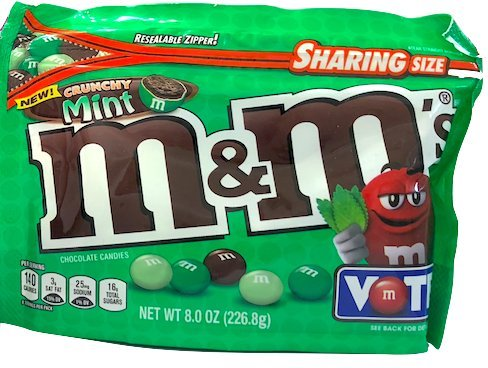 NEW M&M's Crunchy Mint Chocolate Candy Sharing Size 8 Ounce Bag (2)