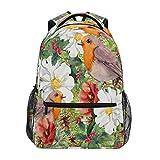 Lerous - Mochila escolar para libros, diseño de flores, pájaros, niños, adolescentes, mujeres, hombres, mochila escolar, mochila de viaje y portátil