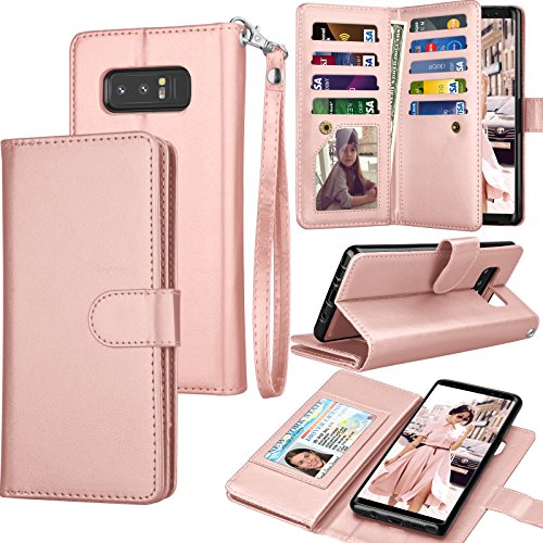 Top galaxy note 8 case pink wallet for 2020