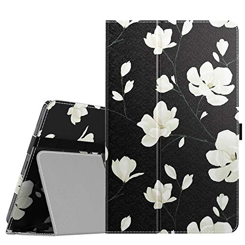 MoKo Case Compatible with Galaxy Tab A 8.4' 2020, Slim Lightweight PU Tablet Shell Cover Stand Case Fit Samsung Galaxy Tab A 8.4 2020 Model SM-T307 (Verizon/T-Mobile/Sprint) - Black & White Magnolia