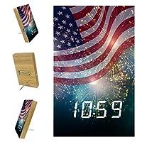 寝室用デジタル目覚まし時計キッチンオフィス3アラーム設定ラジオ木製卓上時計-アメリカ国旗花火独立7月花の要約