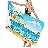 Toallas Island Star Shell Beach Palm Toalla de baño Toalla de Playa Unisex Toalla de Playa Ultra Suave Absorbente de Agua Envolturas de baño de Lujo Toallas de Ducha multiusos130X80 CM