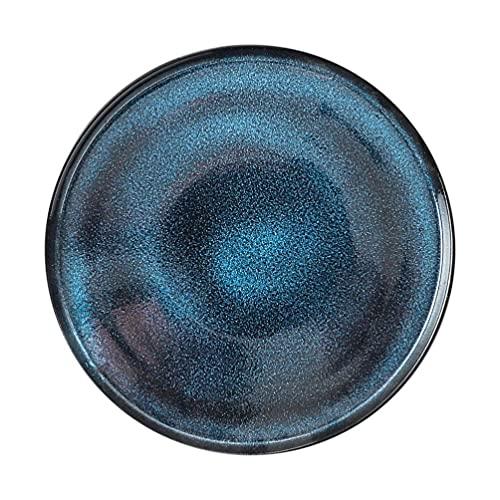 Plato de cerámica para bistec Plato de Postre Bandeja de Sushi Porcelana Plato Occidental Redondo Sartén Plato para Servir Aperitivos Plato Vajilla de Cocina Azul, útil