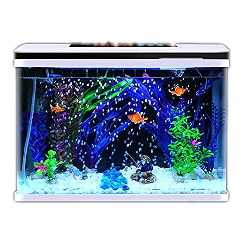 DUTUI Wasserfreies Kleines Ökologisches Aquarium, Desktop-Aquarium in Wohnzimmer Und Büro, Goldenes Aquarium Mit Wassertemperaturanzeige