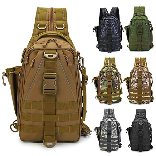 LUXHMOX Fishing Gear-Tackle-Bag Waterproof Storage Lightweight Sling Backpack (New Khaki)