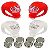 Classic Glow Bicycle Bike Light LED Set Wrap-around Band 2 Front & 2 Rear Waterproof Silicone W/3 Modes