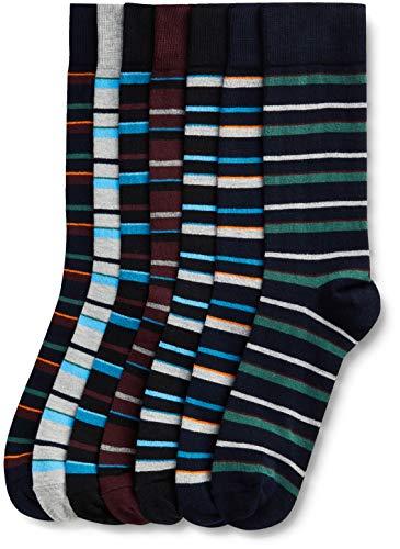 Marca Amazon - find. Calcetines por Media Pierna de Algodón Hombre, Pack de 7, Multicolor (Autumn Stripe), 44-47 EU, Label: 10-12 UK