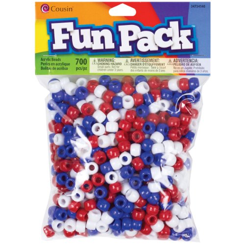 Cousin DIY Red, White, Blue Patriotic Pony Bead Fun Pack