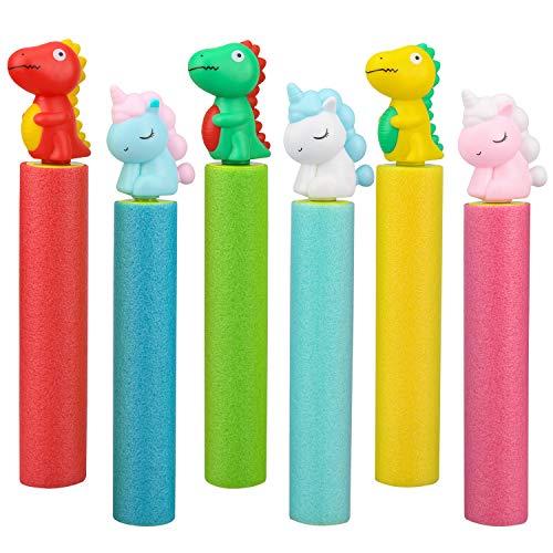 balnore Wasserpistole, 6 Stück Wasserspritzpistole Schaumstoff Spritzpistole Wasserkanone für Kinder Erwachsene Wasserspielzeug für Garten Pool Strand