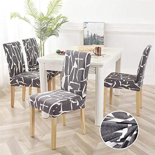 Dining Chair Pad 1/2/4/6pcs Geometric Chair Covers Spandex Elastic Stretch Decoration Chair Dining Seat Cushion Anti-dirty Washable Seat Pad (Color : Pattern 20, Specification : 4pieces)
