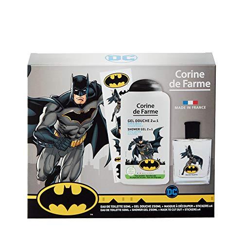 Corine de Farme - Batman Coffret cadeau - Parfum enfant - Gel douche - Stickers - Masque super héros - Fabrication française