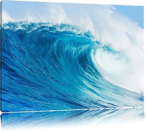 Atemberaubende Welle Format: 120x80 auf Leinwand, XXL riesige Bilder fertig gerahmt mit Keilrahmen, Kunstdruck auf Wandbild mit Rahmen, günstiger als Gemälde oder Ölbild, kein Poster oder Plakat
