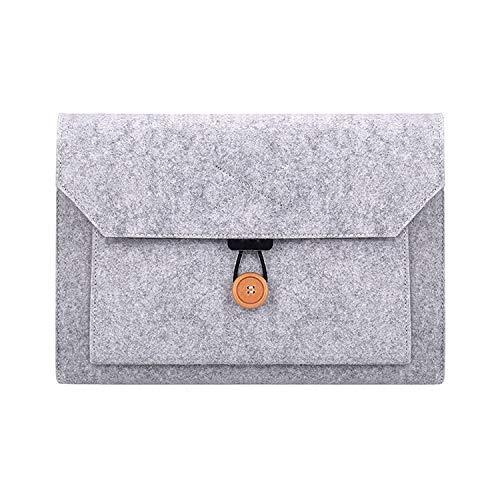 Yxxc Universal laptop bag ND06 multifunctional felt button laptop inner bag for 12.5-inch laptop (black) (Color : Grey)