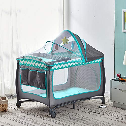NICEME Portable Travel Cot Crib Bed Playpen for Baby & Toddlers, Foldable with Changing Bed Mattress Carry Bag Included Nursery Center Play Yard, Green