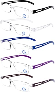 DOOViC 5 Pack Anti Blue Light Reading Glasses One-Piece Design Readers Blue Blocking Computer Glasses UV Protection Unisex (Men/Women) +2.50