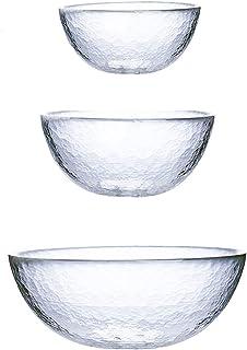 Dessert Bowls مجموعة سلطة زجاجية من 3 قطع (14oz + 22oz + 49oz) سعة كبيرة الحبوب المعكرونة حساء وعاء مجموعة تكويم وعاء مطبخ...