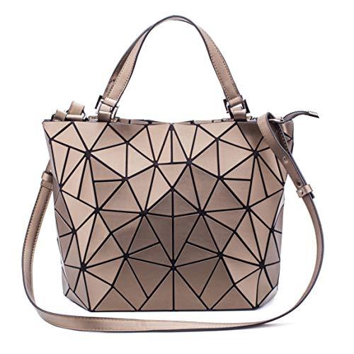 FZChenrry - Bolso de mano para mujer, diseño geométrico, bolso de hombro, monedero único, diseño de rejilla, color Amarillo, talla Einheitsgröße