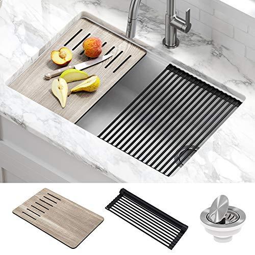 Kraus KGUW1-30WH Bellucci Workstation 30 inch Undermount Granite Composite Single Bowl Kitchen Sink, White