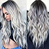 Silver Curly Wig, Long Wavy Wigs Heat Resistant Synthetic ,Ombre Silver Natural Full Wigs Hair with Free Wig Cap for Women Party Cosplay Halloween Costume Accessories 28 inches