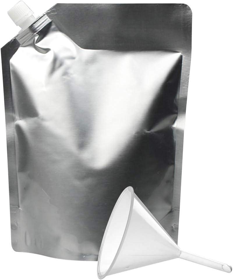 Muka 50 PCS 68 OZ Foil Side Spout Stand Up Pouch Bags w/Funnel