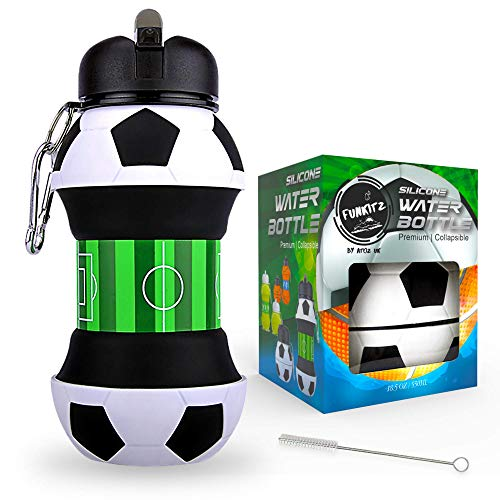 FunKitZ by AToZ UK Football Water Bottle - Unique Football Gifts for Boys and Girls - Cool Kids Water Bottle, Collapsible, Leakproof - Boys Water Bottle - BPA Free - 550 ml