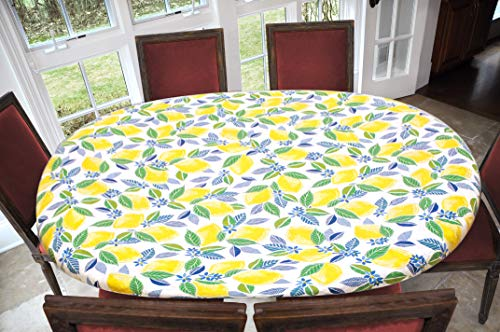 Covers For The Home Deluxe Elastic Edged Flannel Backed Vinyl Fitted Table Cover - Contemporary Lemon Pattern - Oblong/Oval - Fits Tables up to 48' W x 68' L