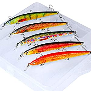 PROBEROS Fishing Lures Minnow Lure - Jerkbait Sinking Lure Set Hard Baits Swimbaits Crankbait for Bass Trout Fishing with Tackle Box 5 Pcs/Set