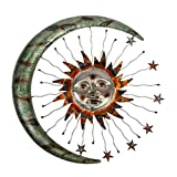 Metal Wall Art Celestial Moon Sun and Stars Indoor Outdoor Garden Wall Decor - 24 inch Metal Sun Moon Stars Wall Hanging