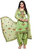 EthnicJunction Women's Rajasthani Mirror Work Chanderi Embroidery Unstitched Salwar Kameez Dress Material (Green, Free Size)