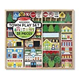 Melissa & Doug Wooden Town Play Set (Vehicles, Wooden Streetscape, Sturdy Wooden Construction, Storage Tray,...