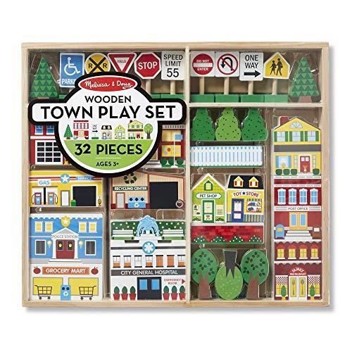 Melissa & Doug Wooden Town Play Set