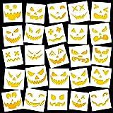 25 Pieces Reusable Halloween Drawing Pumpkin Face Stencils Plastic Halloween Theme Stencils Halloween Decorative Painting Template for DIY Painting Crafting Pumpkin Carving Decoration