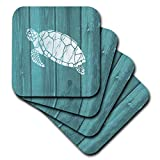 3dRose Turtle Stencil in White Over Teal Weatherboard- Not Real Wood - Soft Coasters, Set of 4