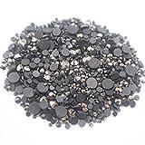 Hot-Fix Rhinestones Mix Size cristales brillantes Strass Flatback pegamento adhesivo en piedras de hierro en diamantes de imitación para ropa, ropa, hematita, ss10 1440 piezas