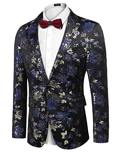 COOFANDY Men's Floral Blazer Slim Fit Dinner Tuxedo Prom Wedding Party Suit Jacket