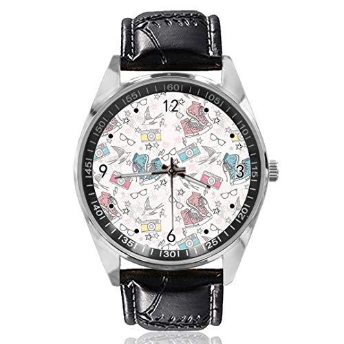 Schoenen Bril Camera Polshorloge Aangepast Ontwerp Analoge Quartz Horloges Zilveren Wijzerplaat Klassieke Lederen Band Dames Horloge