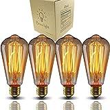 Bravelight-エジソン電球 60W E26/E27口金 ST64 4個入り ヴィンテージエジソンランプ タングステンフィラメント電球(クリア)アンティーク風 調光器対応 ホーム照明装飾用器具 白熱電球 電球付け替え