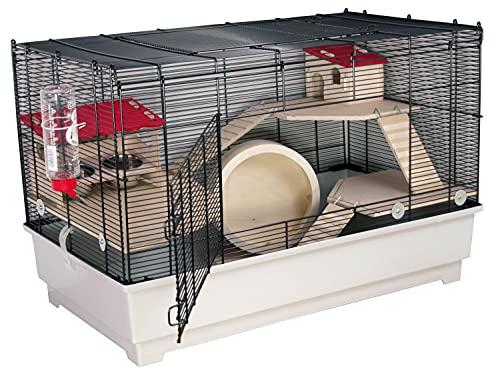 PETGARD Mäuse- und Hamsterkäfig, Nagerhaus mit 3 Holzetagen, Komplettset mit Laufrad und weiterem Zubehör, 75x43x49 cm, Borneo M Deluxe