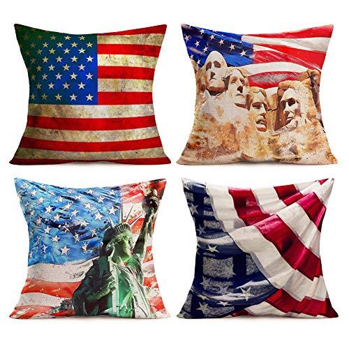 Asamour - Set di 4 federe per cuscino con bandiera americana patriottica, 4 luglio 2018 x 40 cm, motivo bandiera USA stelle e strisce