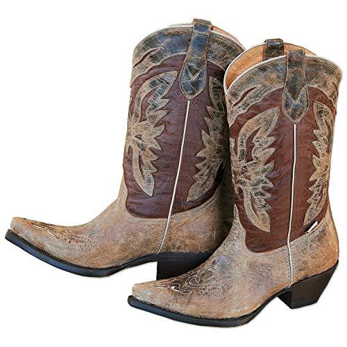STARS & STRIPES Westernstiefel Damen Boots Lederstiefel Country Cowgirl Leder Cowgirlstiefel Western Westernstyle »WBL-24« Braun Gr.40