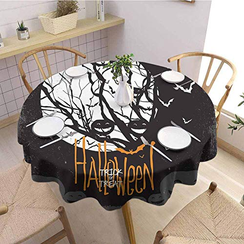 S-ANT Garden Round Tablecloth Vintage Halloween,Halloween Themed Image with Full Moon and Jack o Lanterns on a Tree,Black White Parties Wedding Patio Dining D46