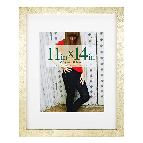 RPJC 11x14 Picture Frames Made of Solid Wood and High Definition Glass Display Pictures 8x10 with Mat or 11x14 Without Mat for Wall Mounting Photo Frame Gold