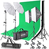 Neewer Photo Studio Photography Lighting Kit: 6.5x10 feet/2x3 meters Background Stand Support System, 800W 5500K Umbrellas Softbox Continuous Lighting Kit for Portrait, Product and Video Shooting (US)
