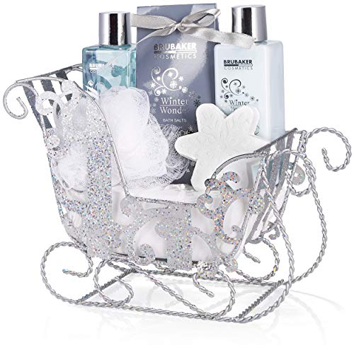 BRUBAKER Cosmetics 6-teilig Pflegeset - Winter Wonder - Beauty Geschenkset mit Vanille Duft - inkl. Glitzer Schlitten Silber